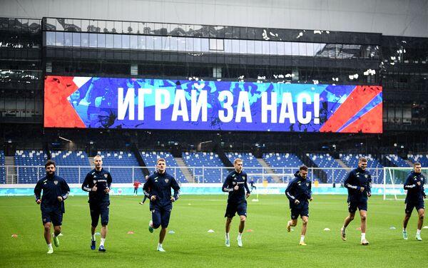 Các cầu thủ của đội tuyển bóng đá quốc gia Nga trong buổi tập mở trước thềm EURO 2020. - Sputnik Việt Nam