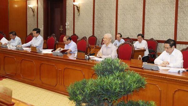 Tổng Bí thư Nguyễn Phú Trọng phát biểu kết luận cuộc họp - Sputnik Việt Nam