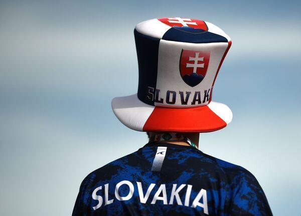 Cổ động viên đội tuyển quốc gia Slovakia trong khu vực fanzone tại sân vận động «Gazprom-Arena» trước trận Ba Lan - Slovakia ở St.Petersburg - Sputnik Việt Nam