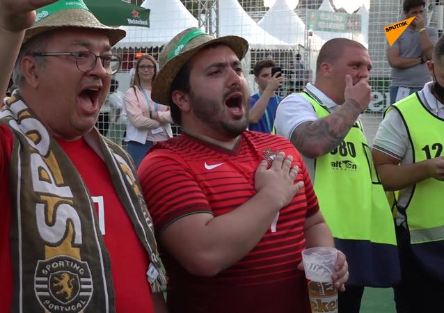 Người hâm mộ Bồ Đào Nha trong khu vực fanzone ở Budapest trước trận đấu với Hungary