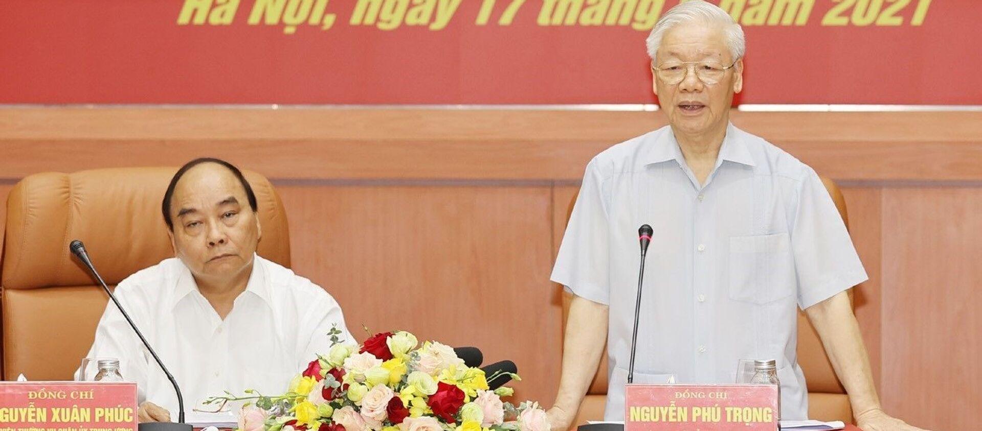 Tổng Bí thư Nguyễn Phú Trọng, Bí thư Quân ủy Trung ương phát biểu chỉ đạo Hội nghị - Sputnik Việt Nam, 1920, 17.06.2021