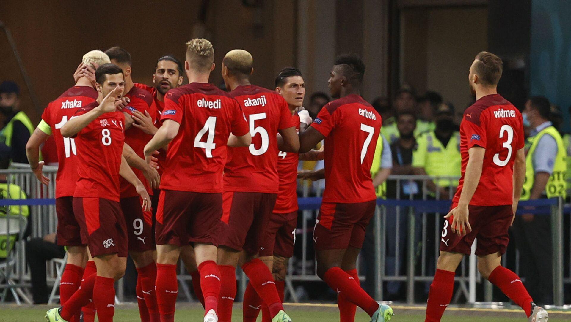 Trận đấu vòng bảng của Giải Vô địch Bóng đá châu Âu EURO 2020 giữa đội tuyển Thụy Sĩ và đội tuyển Thổ Nhĩ Kỳ - Sputnik Việt Nam, 1920, 21.06.2021