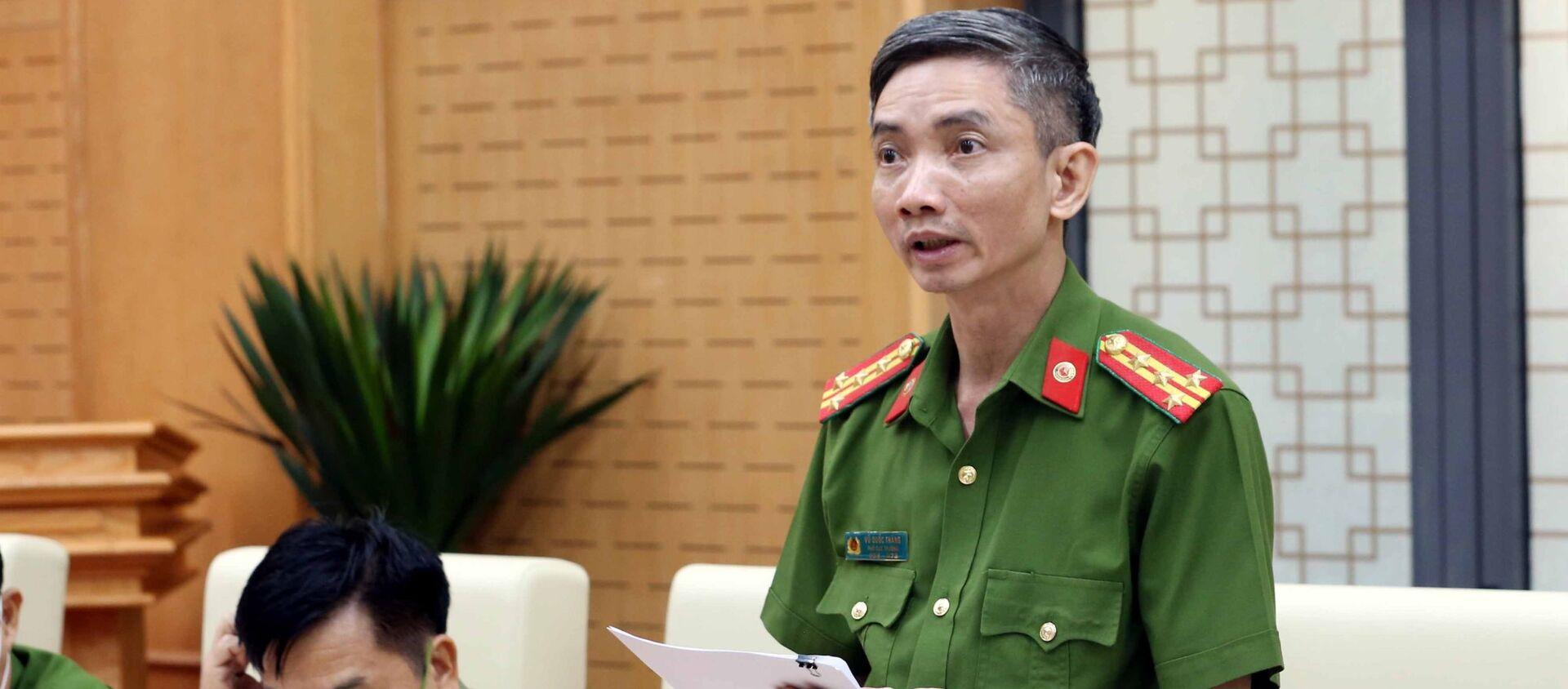 Đại tá Vũ Quốc Thắng, Phó Chánh Văn phòng Cơ quan cảnh sát điều tra trả lời câu hỏi của các phóng viên các cơ quan thông tấn, báo chí - Sputnik Việt Nam, 1920, 21.06.2021