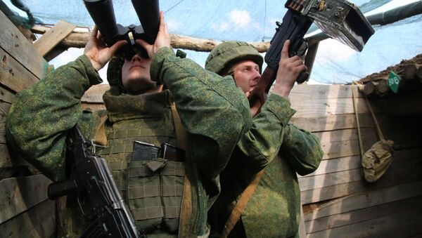 Các chiến binh của Cảnh sát nhân dân nước cộng hòa tự xưng DNR trên tuyến tiếp giáp - Sputnik Việt Nam