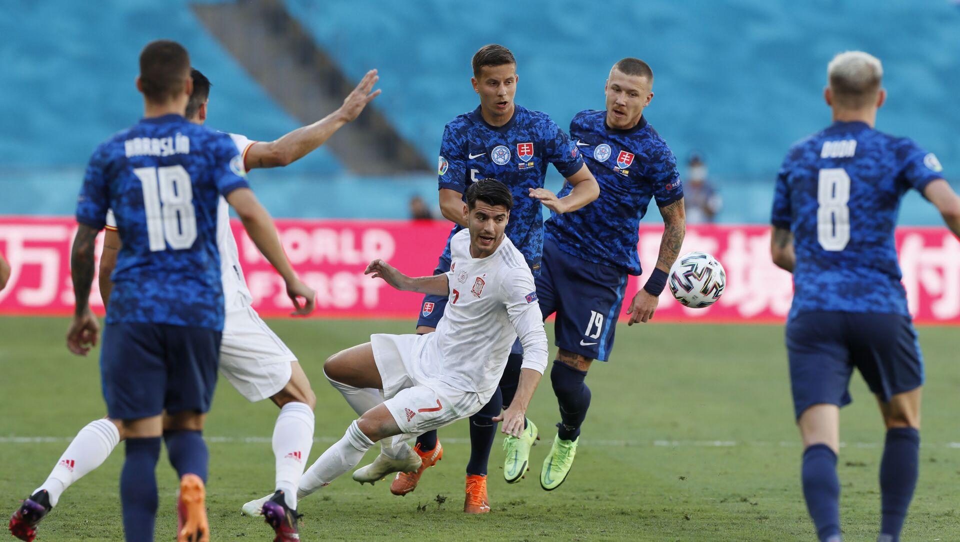 Trận đấu vòng bảng của Giải Vô địch Bóng đá châu Âu EURO 2020 giữa đội tuyển Tây Ban Nha và đội tuyển Slovakia. - Sputnik Việt Nam, 1920, 30.06.2021