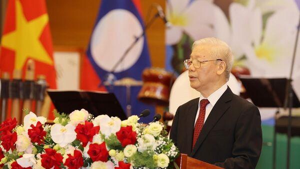 Tổng Bí thư Nguyễn Phú Trọng đọc Diễn văn chào mừng.  - Sputnik Việt Nam