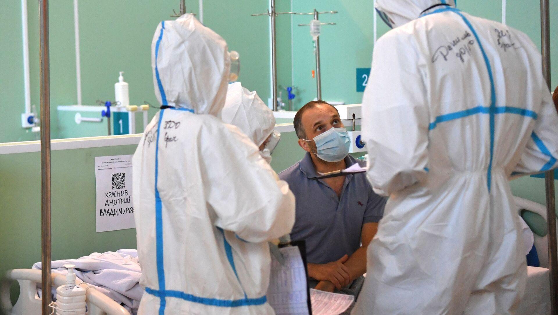 Điều trị bệnh nhân bị COVID-19 trong bệnh viện dự bị tại VDNKh - Sputnik Việt Nam, 1920, 10.09.2021