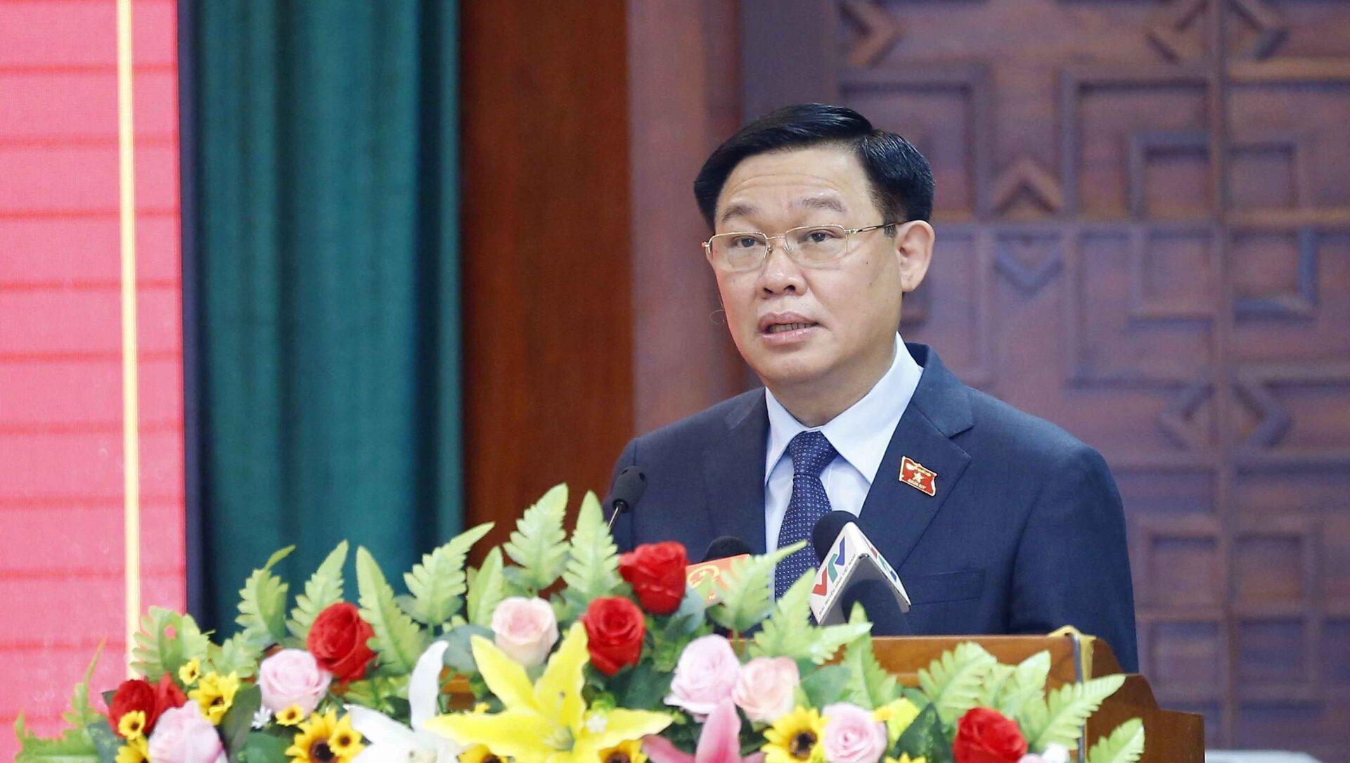 Chủ tịch Quốc hội Vương Đình Huệ phát biểu ý kiến chỉ đạo.  - Sputnik Việt Nam, 1920, 01.07.2021