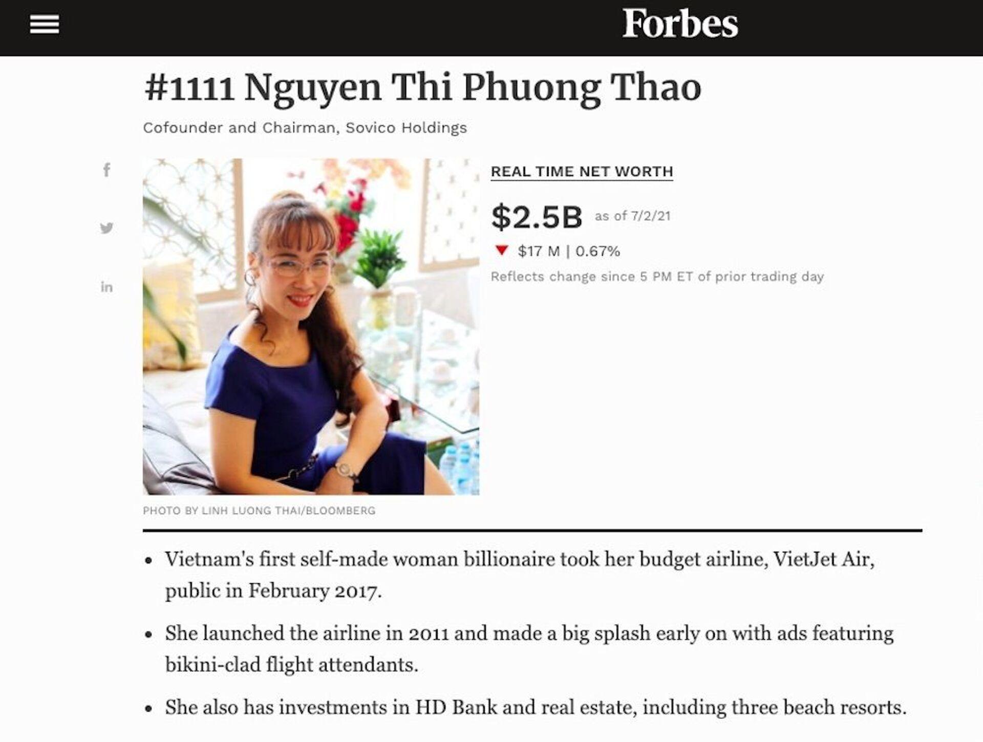 Bảng xếp hạng người giàu nhất sàn chứng khoán Việt Nam biến động mạnh - Sputnik Việt Nam, 1920, 03.07.2021