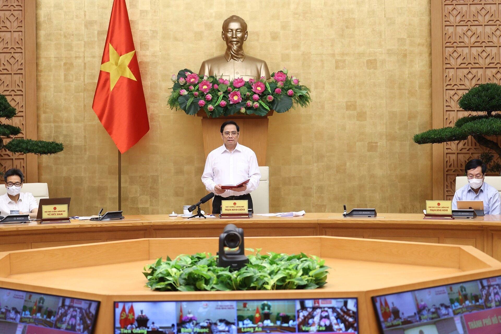 Dịch Covid-19 diễn biến phức tạp, Thủ tướng Phạm Minh Chính họp với 8 tỉnh, thành phố phía Nam - Sputnik Việt Nam, 1920, 04.07.2021