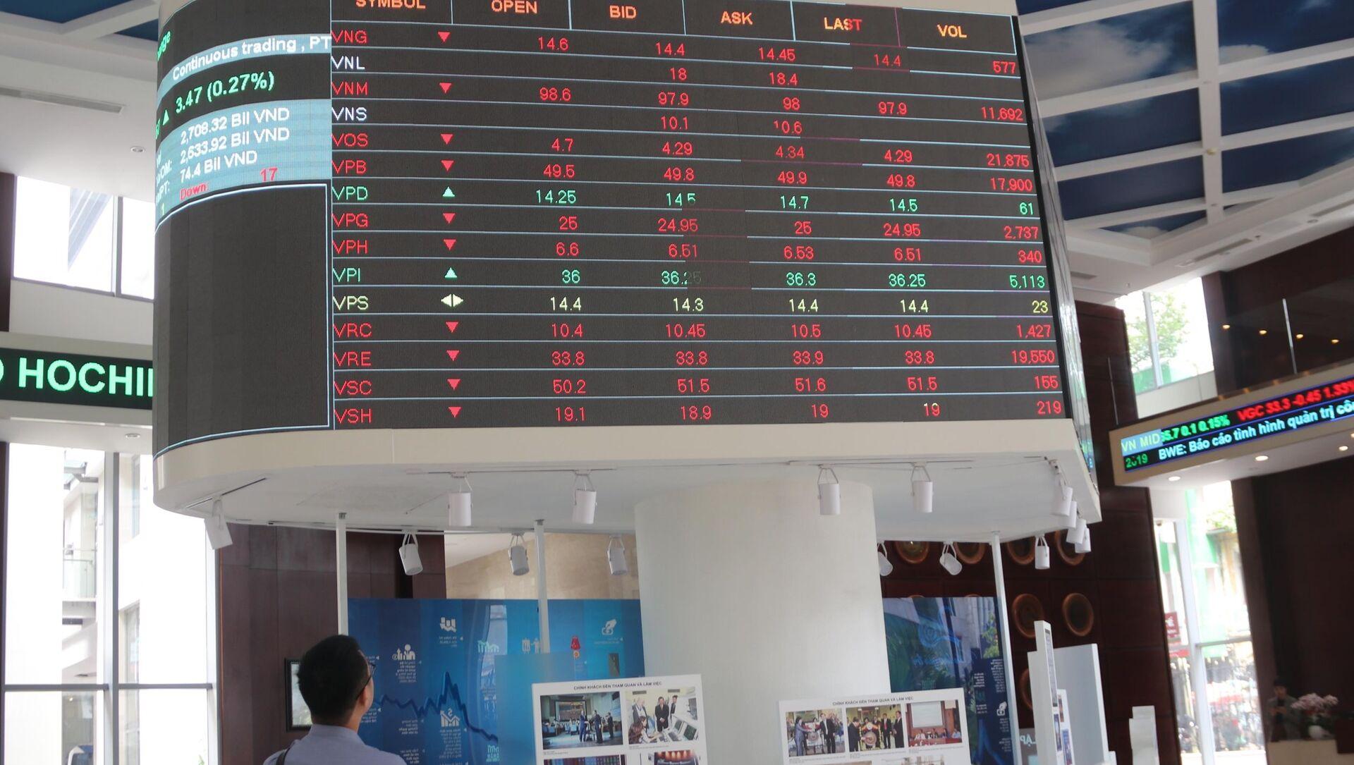 Nhà đầu tư theo dõi bảng giá chứng khoán tại sàn HOSE ngày 16/4/2021. - Sputnik Việt Nam, 1920, 05.07.2021