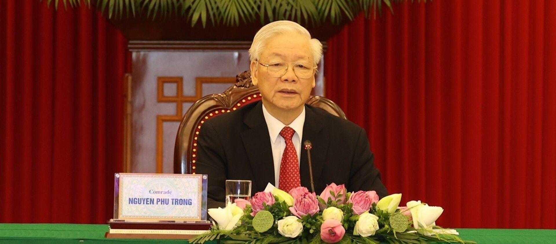 Tổng Bí thư Nguyễn Phú Trọng phát biểu tại Hội nghị thượng đỉnh giữa Đảng Cộng sản Trung Quốc với các chính đảng trên thế giới. - Sputnik Việt Nam, 1920, 07.07.2021