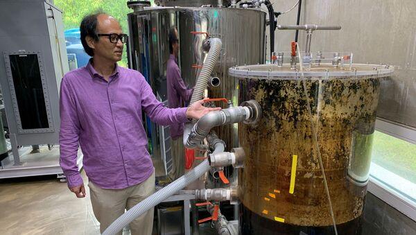 Giáo sư Cho Jae-weon đứng cạnh bể chứa phân trong phòng thí nghiệm ở Ulsan, Hàn Quốc - Sputnik Việt Nam