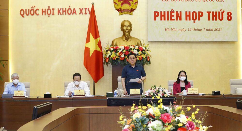 Chủ tịch Quốc hội Vương Đình Huệ phát biểu khai mạc Phiên họp thứ 8 của Hội đồng Bầu cử quốc gia.