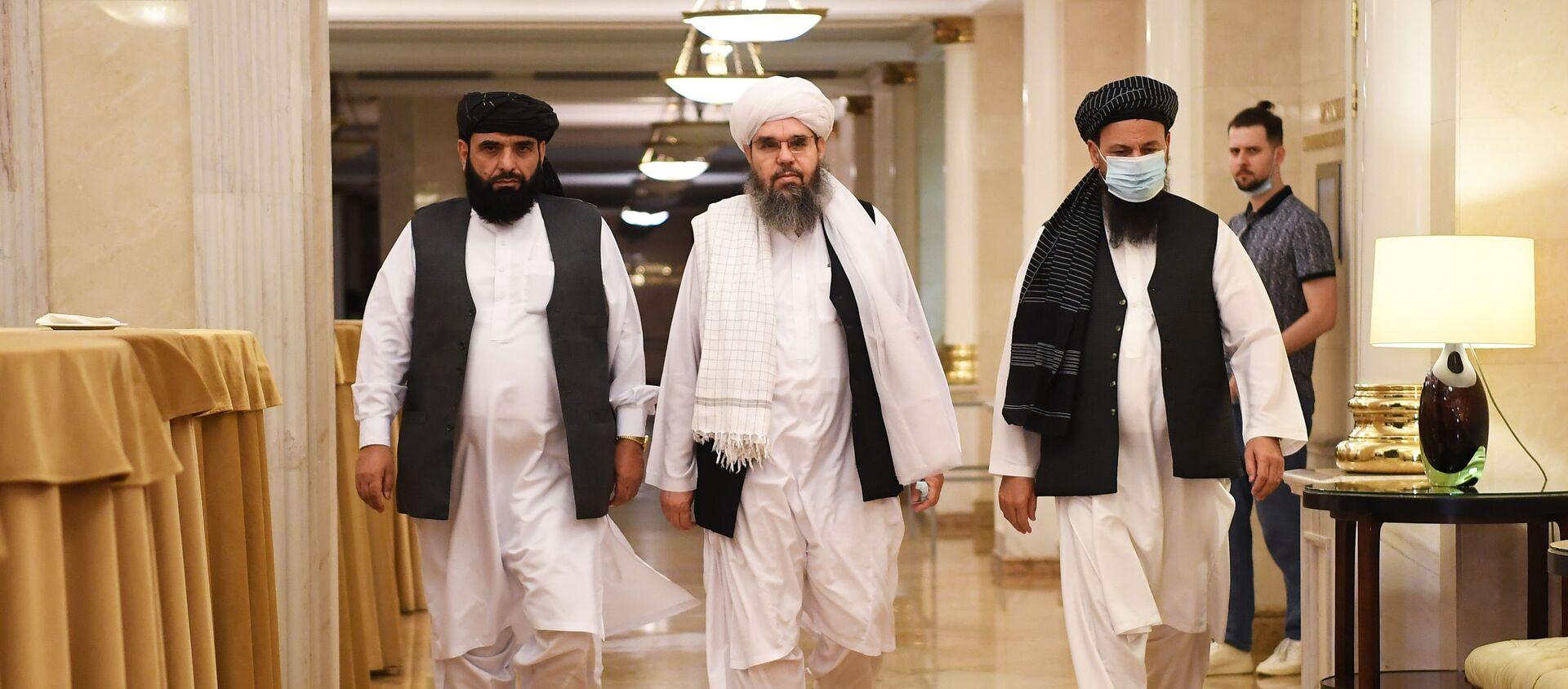 Cuộc họp báo của phái đoàn văn phòng chính trị của phong trào Taliban (bị cấm ở Liên bang Nga) tại Moscow - Sputnik Việt Nam, 1920, 12.07.2021