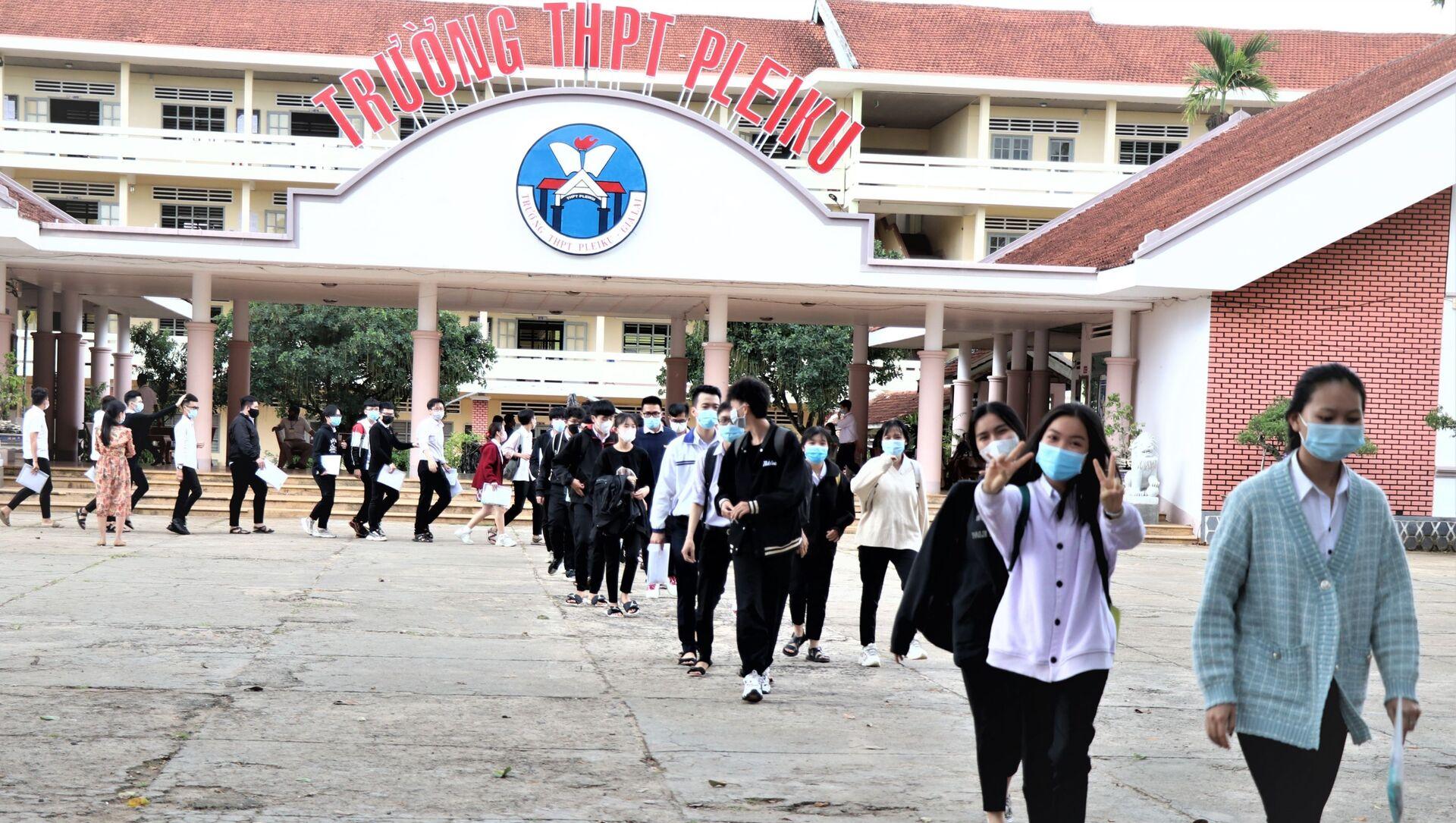 Các thí sinh tại Gia Lai chấp hành nghiêm quy chế kỳ thi và công tác phòng, chống dịch COVID-19. - Sputnik Việt Nam, 1920, 13.07.2021