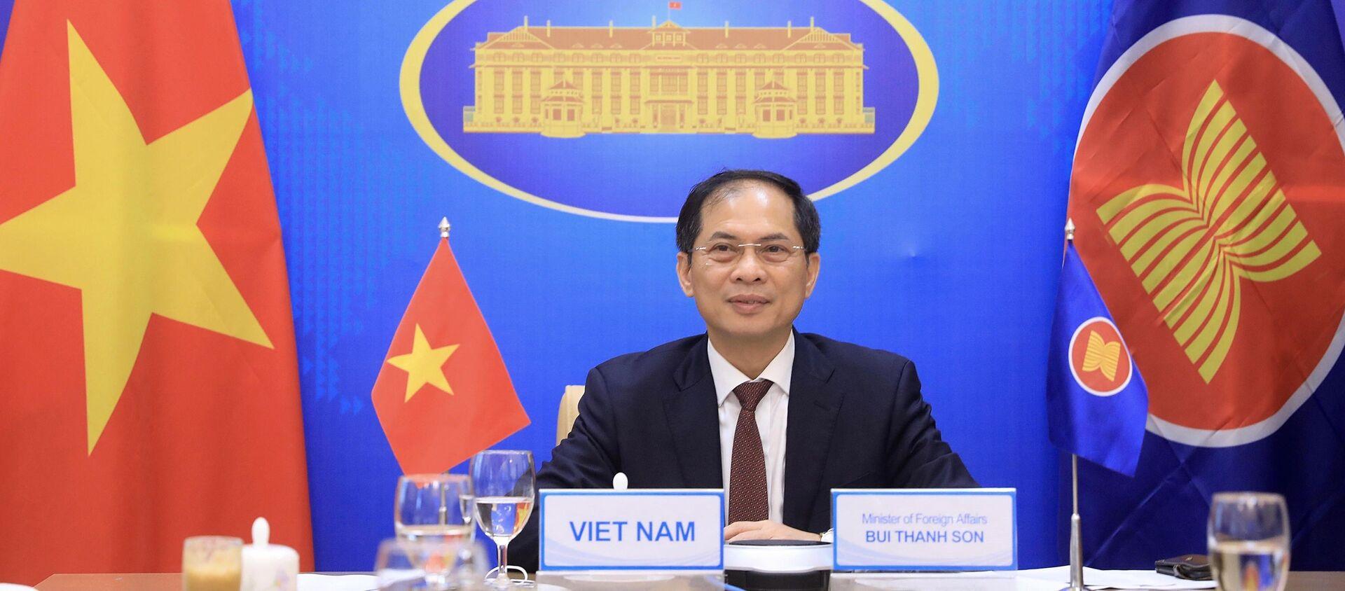 Bộ trưởng Ngoại giao Bùi Thanh Sơn dự tại Hội nghị đặc biệt Bộ trưởng Ngoại giao ASEAN - Hoa Kỳ. - Sputnik Việt Nam, 1920, 14.07.2021