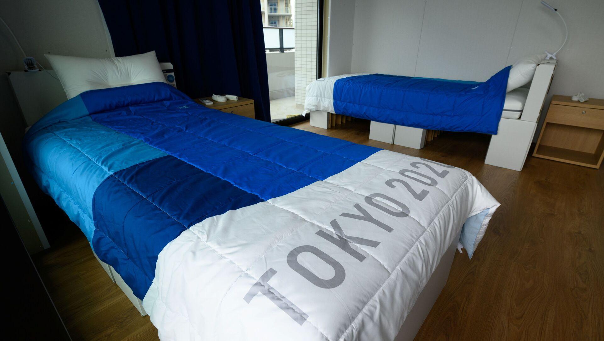 Giường và nệm các tông có thể tái chế tại Làng Olympic và Paralympic ở Tokyo, Nhật Bản - Sputnik Việt Nam, 1920, 29.07.2021