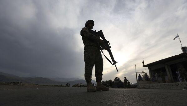 Một binh sĩ Quân đội Quốc gia Afghanistan đứng gác tại một trạm kiểm soát trên đường cao tốc Jalalabad-Kabul, Laghman - Sputnik Việt Nam
