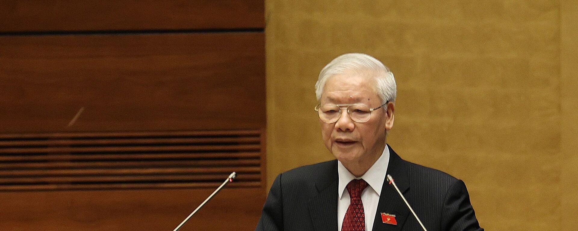 Tổng Bí thư Nguyễn Phú Trọng phát biểu tại Lễ khai mạc Kỳ họp thứ nhất, Quốc hội khóa XV - Sputnik Việt Nam, 1920, 17.08.2021