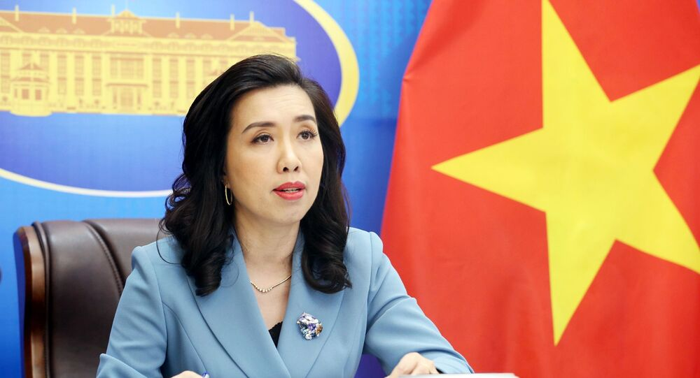 Người phát ngôn Bộ Ngoại giao Lê Thị Thu Hằng chủ trì Họp báo thường kỳ tháng 7/2021.