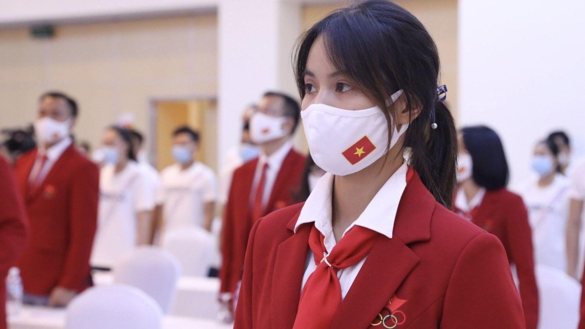 Thành viên Đoàn Thể thao Việt Nam dự Olympic Tokyo 2020 tại lễ xuất quân. - Sputnik Việt Nam, 1920, 03.08.2021