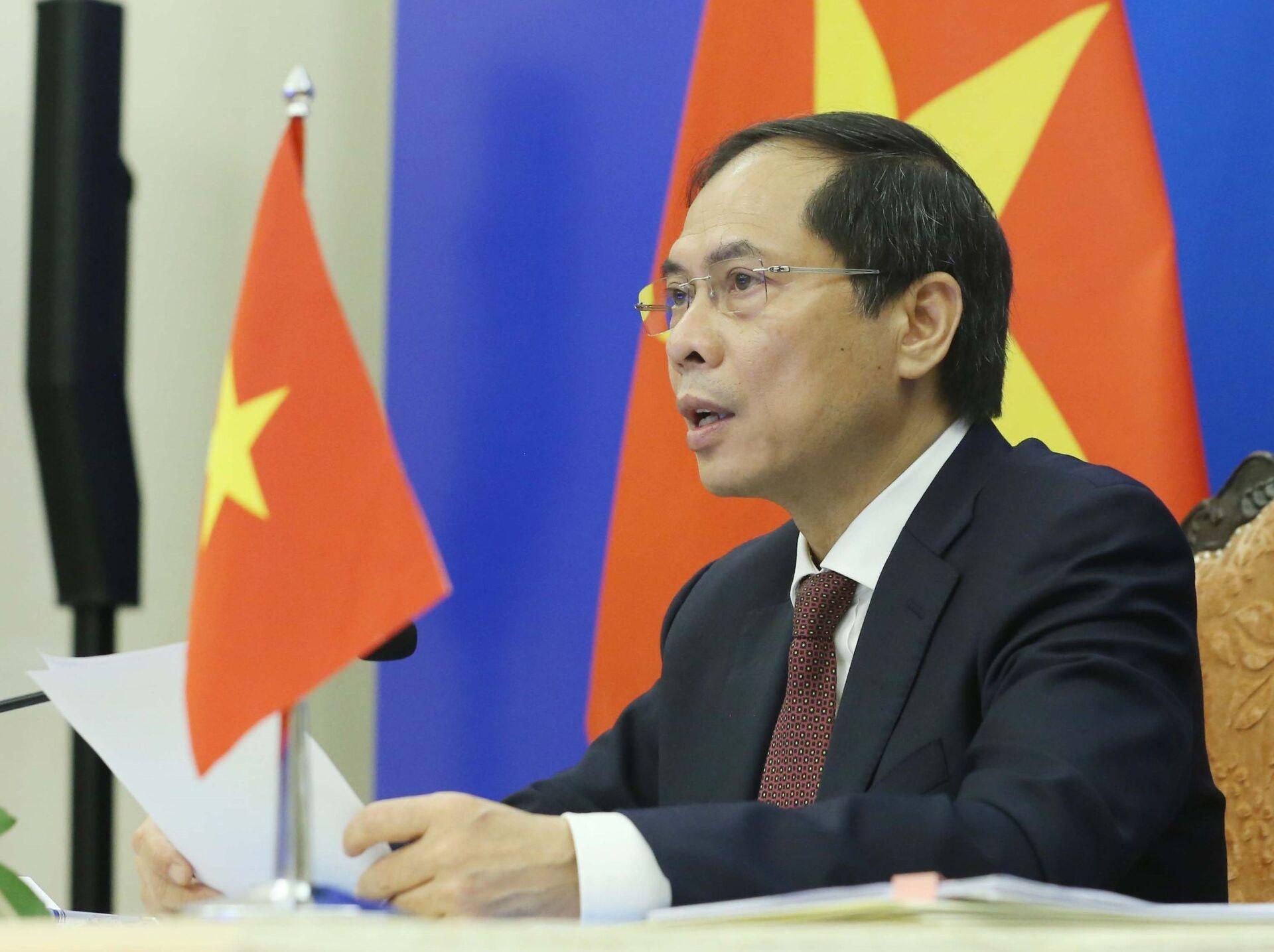 Bộ trưởng Bộ Ngoại giao Bùi Thanh Sơn phát biểu tại điểm cầu trực tuyến Hà Nội. - Sputnik Việt Nam, 1920, 05.10.2021