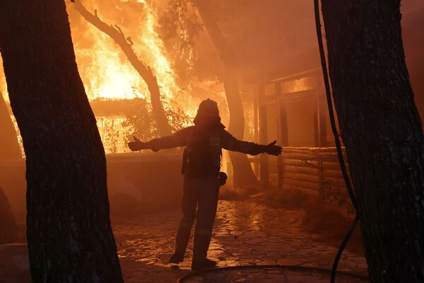 Lính cứu hỏa dập đám cháy rừng ở ngoại ô Varympompi, phía bắc Athens, Hy Lạp - Sputnik Việt Nam