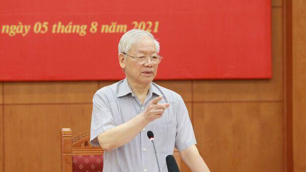 Tổng Bí thư Nguyễn Phú Trọng, Trưởng Ban Chỉ đạo phát biểu kết luận phiên họp. - Sputnik Việt Nam