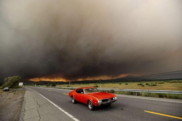 Chiếc xe rời khỏi Chester, nơi cháy rừng đang hoành hành, California, Mỹ - Sputnik Việt Nam