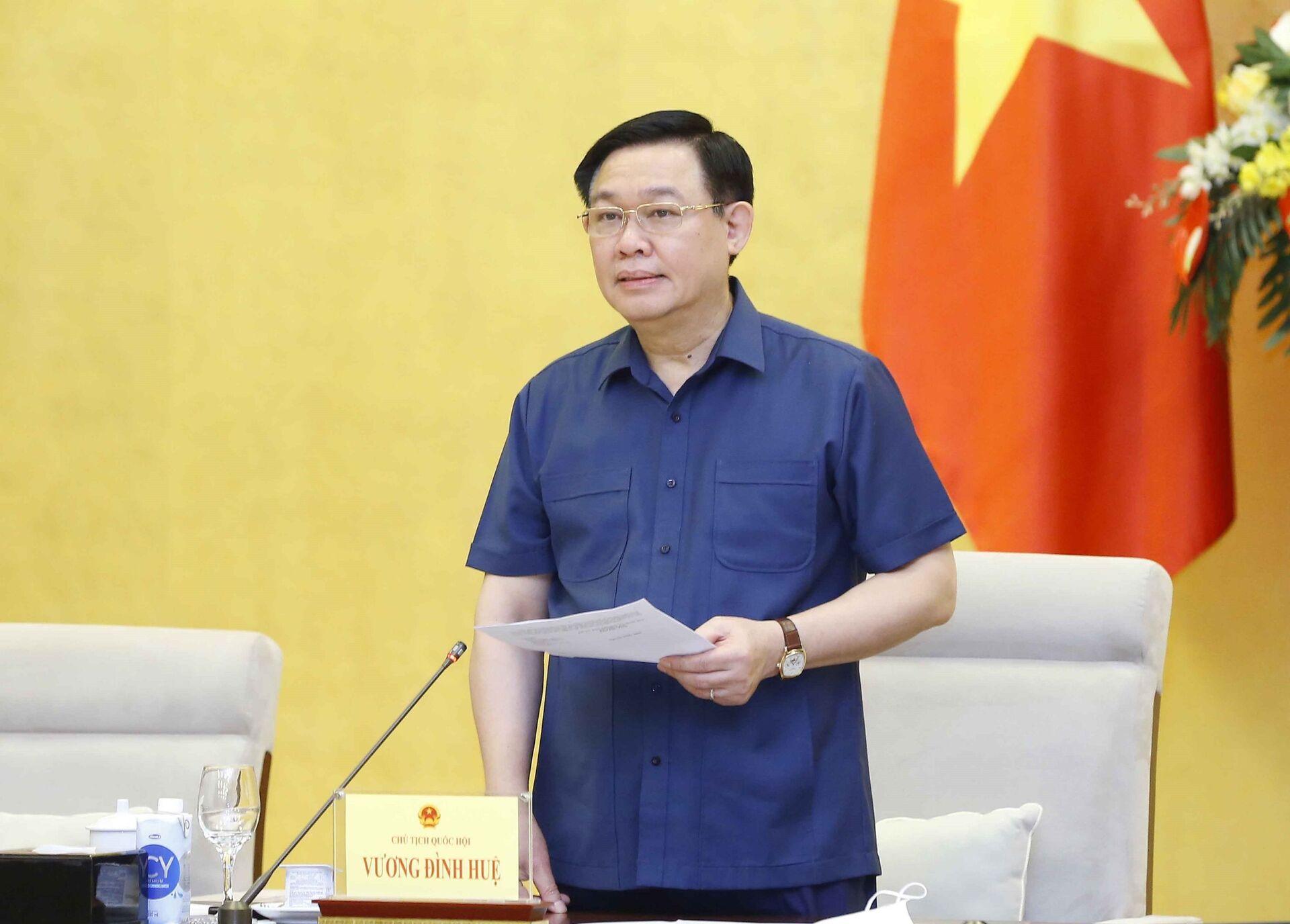 Chủ tịch Quốc hội Vương Đình Huệ phát biểu. - Sputnik Việt Nam, 1920, 05.10.2021
