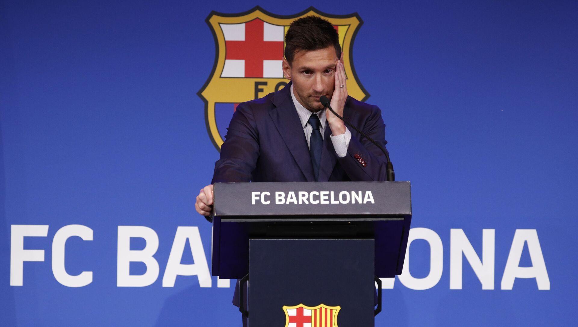 Cầu thủ bóng đá Lionel Messi trong cuộc họp báo ở Barcelona  - Sputnik Việt Nam, 1920, 08.08.2021