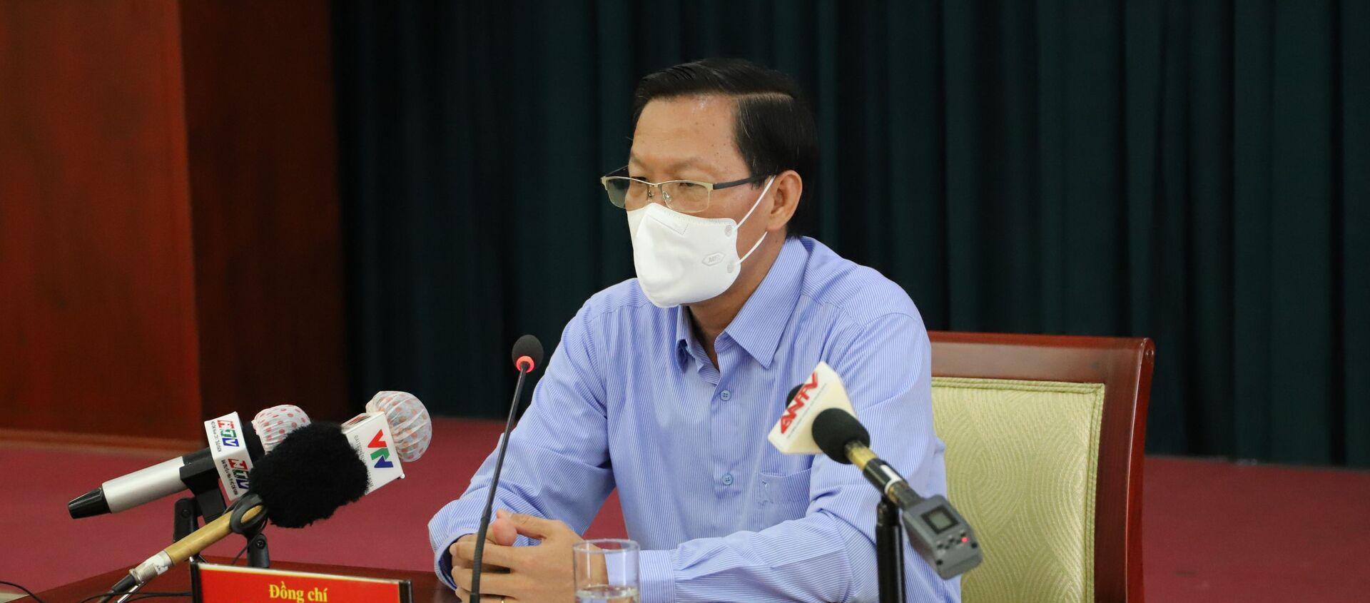 Phó bí thư thường trực Thành ủy Thành phố Hồ Chí Minh Phan Văn Mãi phát biểu tại cuộc họp. - Sputnik Việt Nam, 1920, 24.08.2021