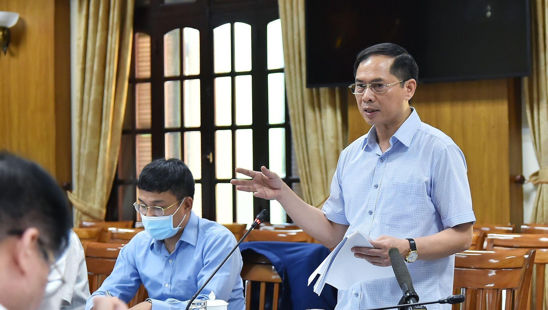 Bộ trưởng Ngoại giao Bùi Thanh Sơn và Tổ công tác của Chính phủ về ngoại giao vaccine triển khai nhiệm vụ - Sputnik Việt Nam, 1920, 18.08.2021