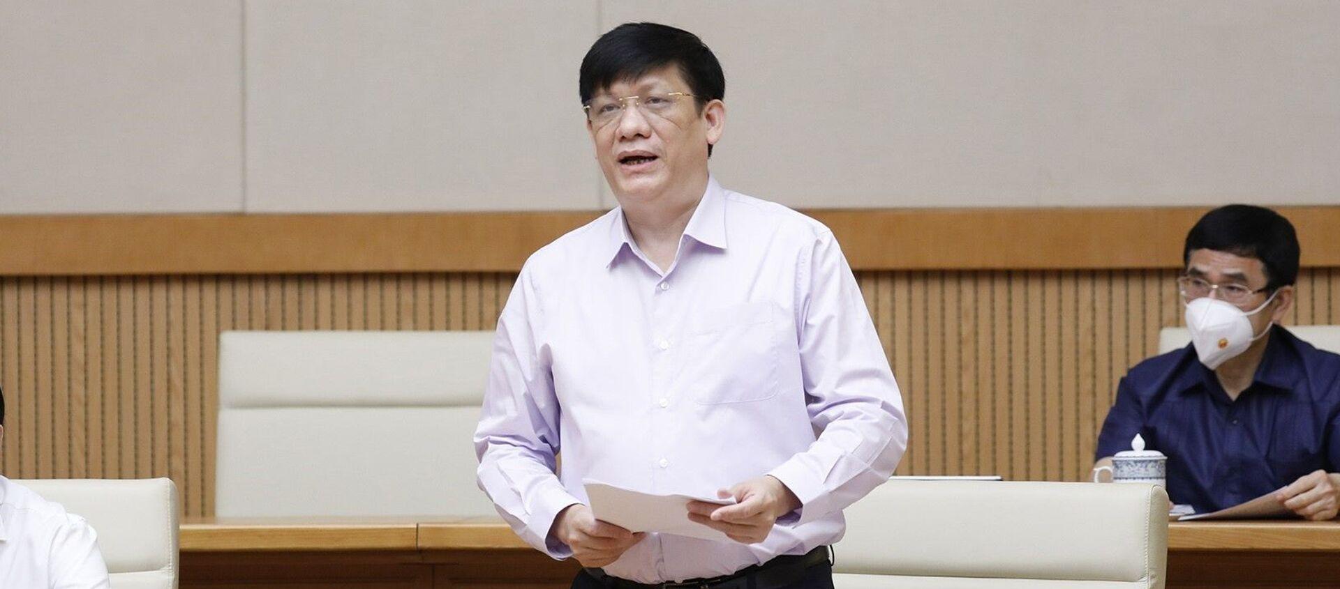 Bộ trưởng Bộ Y tế Nguyễn Thanh Long báo cáo kết quả công tác thực hiện Chỉ thị số 16 tại các tỉnh, thành phố. - Sputnik Việt Nam, 1920, 18.08.2021