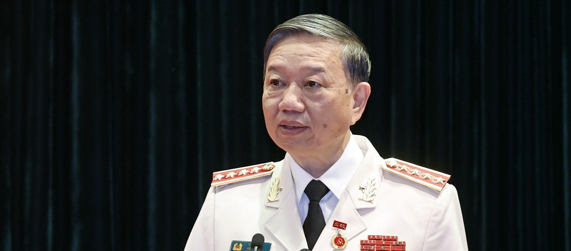 Đại tướng Tô Lâm, Uỷ viên Bộ Chính trị, Bộ trưởng Bộ Công an phát biểu. - Sputnik Việt Nam, 1920, 19.08.2021
