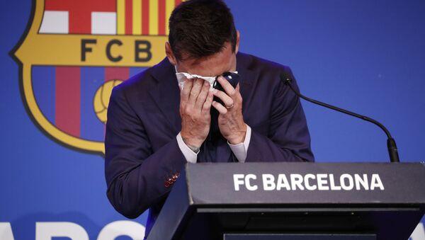 Cầu thủ bóng đá Lionel Messi trong cuộc họp báo ở Barcelona - Sputnik Việt Nam