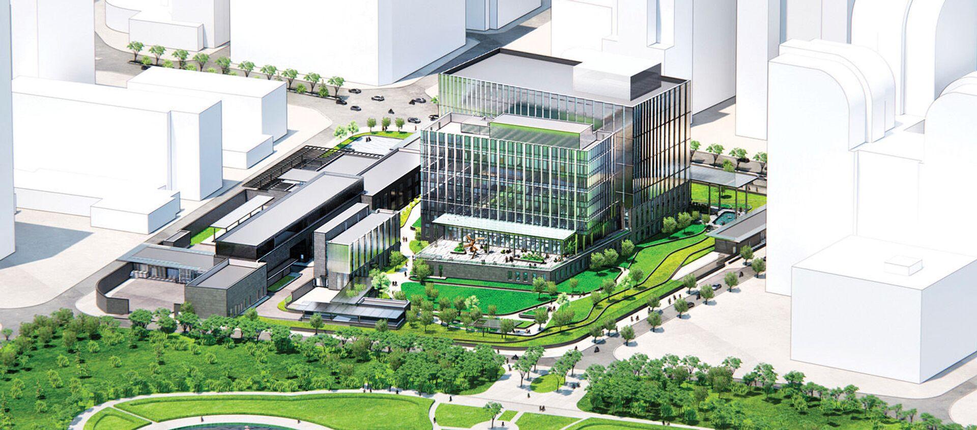 Đại sứ quán Mỹ mới tọa lạc ở quận Cầu Giấy, có diện tích 39.000m2, và có vốn đầu tư 1,2 tỷ USD. - Sputnik Việt Nam, 1920, 26.08.2021