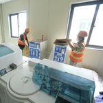 Khu vực xét nghiệm bên trong bệnh viện dã chiến ở Hoàng Mai