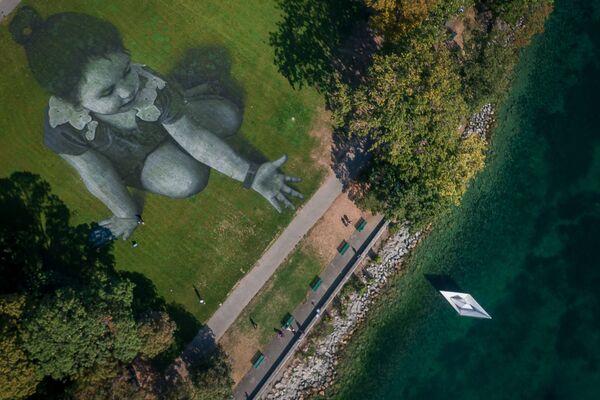 Bức tranh nghệ thuật trên đất khổng lồ, phong cách nghệ thuật land- artcủa nghệ sĩ Pháp Guillaume Legros ở Geneva, Thụy Sĩ - Sputnik Việt Nam