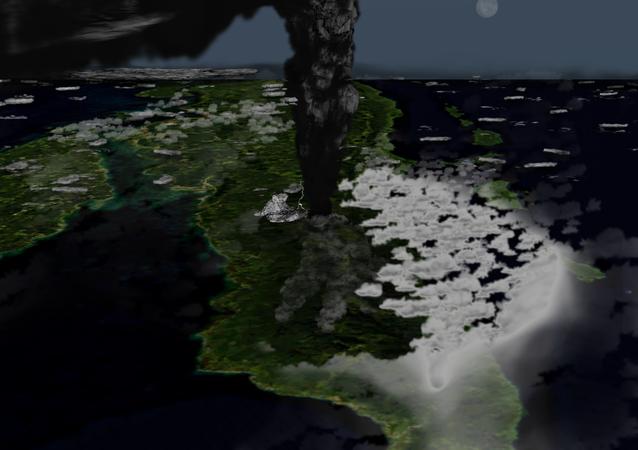 Hình minh họa về sự phun trào của siêu núi lửa Toba trên đảo Sumatra