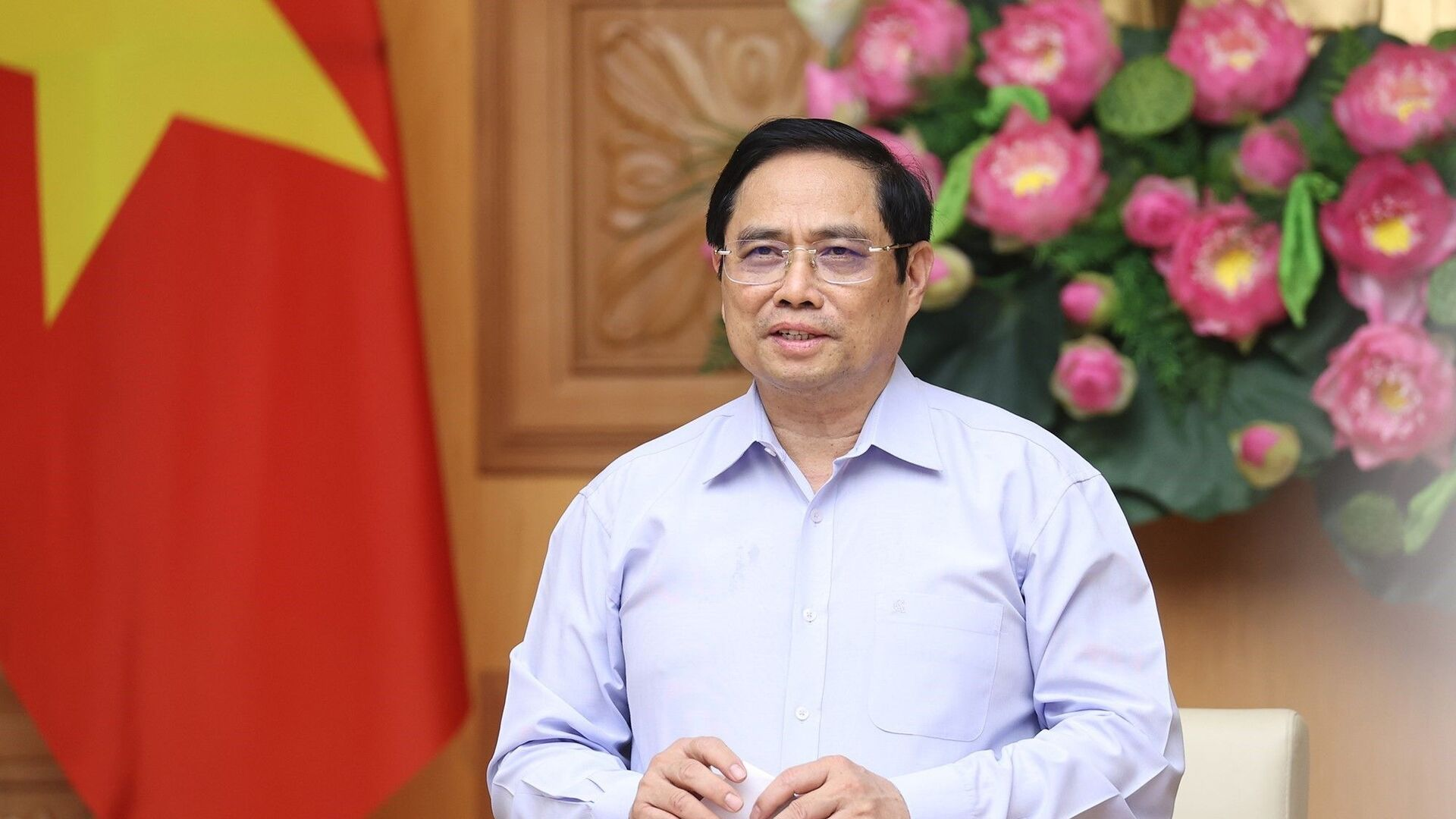 Thủ tướng Phạm Minh Chính phát biểu tại buổi làm việc. - Sputnik Việt Nam, 1920, 14.10.2021