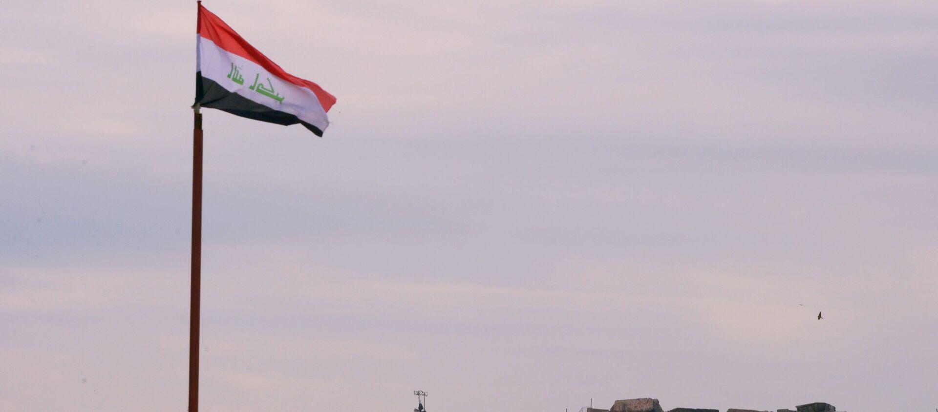 Lá cờ Iraq trên nền những tòa nhà bị phá hủy ở Mosul - Sputnik Việt Nam, 1920, 05.09.2021