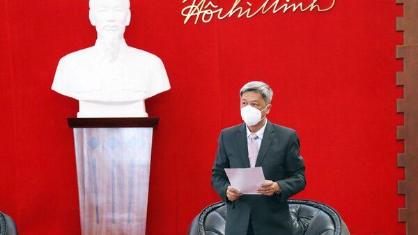Ông Nguyễn Trường Sơn, Thứ trưởng Bộ Y tế phát biểu tại buổi lễ tiếp nhận số thiết bị, vật tư y tế do Chính phủ Ba Lan tặng Việt Nam - Sputnik Việt Nam
