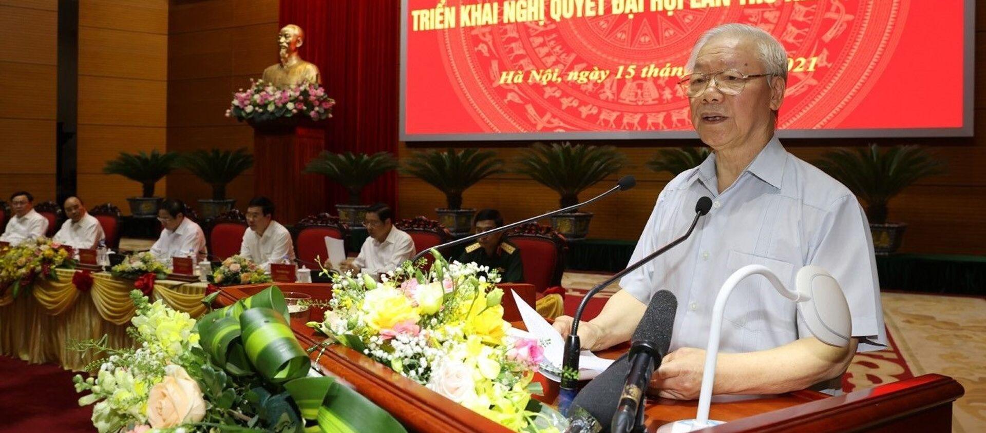 Tổng Bí thư Nguyễn Phú Trọng phát biểu chỉ đạo hội nghị - Sputnik Việt Nam, 1920, 15.09.2021
