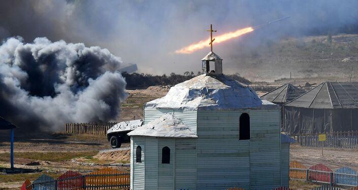 Phát bắn từ hệ thống pháo phản lực bắn loạt tại cuộc tập trận chiến lược chung Zapad-2021
