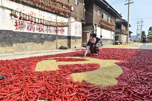 Cô gái làm lá cờ của Đảng Cộng sản Trung Quốc bằng ngô và ớt bột ở tỉnh Quý Châu, Tây Nam Trung Quốc. - Sputnik Việt Nam