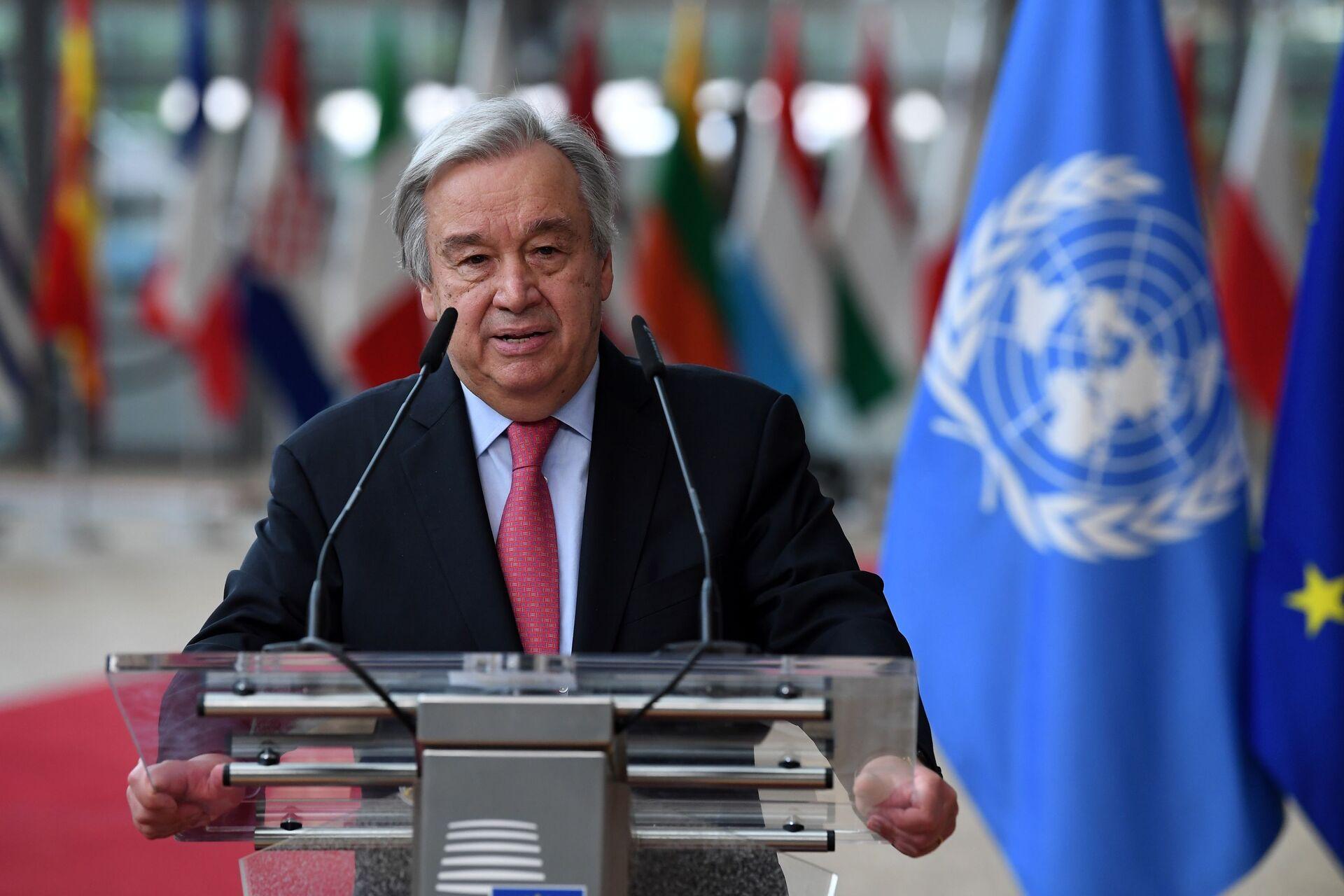 Tổng thư ký Liên hợp quốc Antonio Guterres trong Hội nghị thượng đỉnh EU tại Tòa nhà Hội đồng châu Âu ở Brussels - Sputnik Việt Nam, 1920, 05.10.2021
