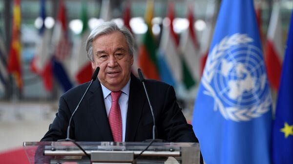 Tổng thư ký Liên hợp quốc Antonio Guterres trong Hội nghị thượng đỉnh EU tại Tòa nhà Hội đồng châu Âu ở Brussels - Sputnik Việt Nam