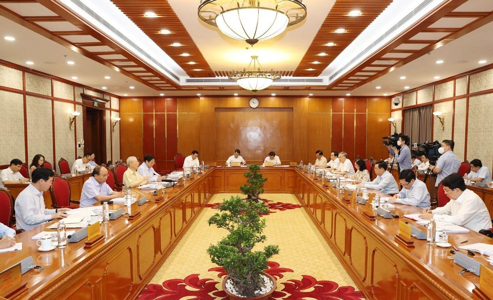 Tổng Bí thư Nguyễn Phú Trọng phát biểu kết luận cuộc họp - Sputnik Việt Nam, 1920, 05.10.2021